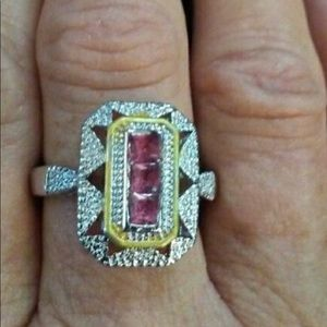 Sterling Silver Art Deco Lab Created Ruby Ring